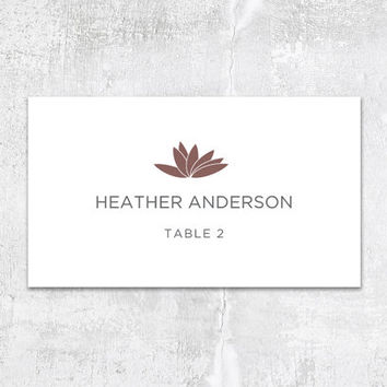 Printable Wedding Place Card - Modern Lotus - Contemporary Floral Botanical Leaf - Customizable - Datamerge