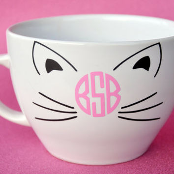 Monogrammed Kitty Coffee Cup/Mug/Bottle/Infuser Bottle/Wine Glass/Wine Sippy Cup/Travel Mug
