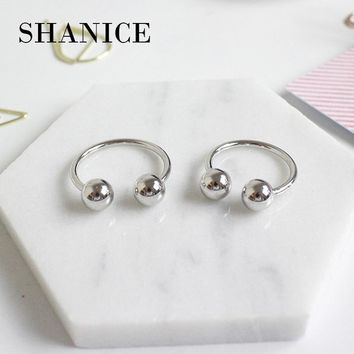 SHANICE 925 Sterling Silver Double Ball Beads Open Rings Adjustable Finger Rings Fashion Punk Silver Jewelry Opening Finger Ring