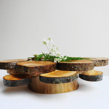 Rustic Woodland Wedding Centerpiece, Wood  Cake Stand, Flower Stand,Candle Stand, Wooden Centerpiece
