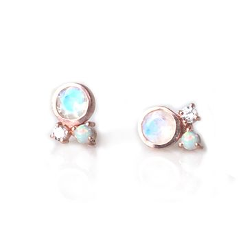 Rose Gold Rainbow Moonstone, Opal and Diamond Candy Studs