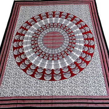 BIG Floral Peacock Mandala Hippie Tapestry Wall Hanging Indian Bedspread Throw Bohemian Boho Bedding Cover ethnic home decor