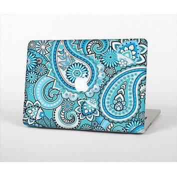The Vibrant Blue and White Paisley Design  Skin Set for the Apple MacBook Air 11""