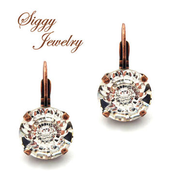 Swarovski Crystal Earrings, 12mm Vision, Crystal Clear, Special Fancy Crystals, Amazing Cut, Drops or Studs, Assorted Finishes,