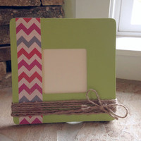 Lime Green Hand Painted Wooden Picture Frame with Chevron and Twine Embellishments