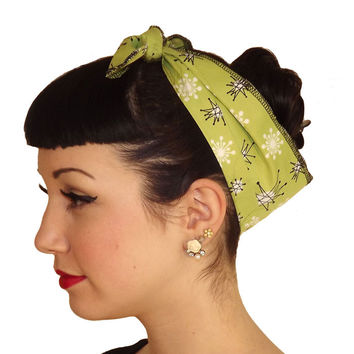 Atomic Starburst Green Head Wrap Scarf