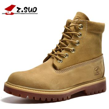 Z.Suo Fashion Brand Luxury Men's Autumn/Winter Boots Man First Layer Cowhide High Top Botas Classic Tooling Work Safety Boots