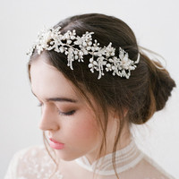 Macy Silver Crystal Pearls Hairpiece Bridal  Headband Wedding