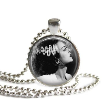 Bride of Frankenstein Silver Plated Picture Pendant Necklace