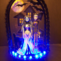 Corpse Bride & Victor Wedding Cake Topper BLUE GOTHIC House with LIGHTS