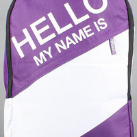 The Hello My Name Is Backpack in Purple by Sprayground