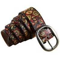 Pin Buckle Belt with Colorful Abstract Print