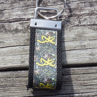 NEW, Camouflage Mini Fob, Yellow Browning Camouflage, Key Holder, Key Chain, Key Ring, Accessory