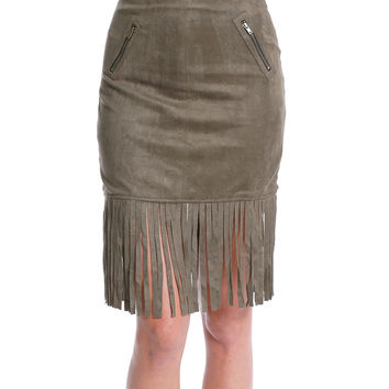 Style And Fringe Suede Skirt - Olive