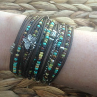 Boho Brown Leather Wrap Bracelet - Silver Charms Infinity Multi-Strand Picasso Beaded Bracelet