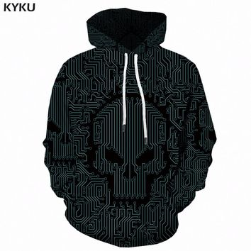 KYKU Skull Hoodies Men Sweatshirts Green 3d Print Hoodie geometric Anime Sweatshirt Hooded Punk Rock Mens Clothing Casual Winter