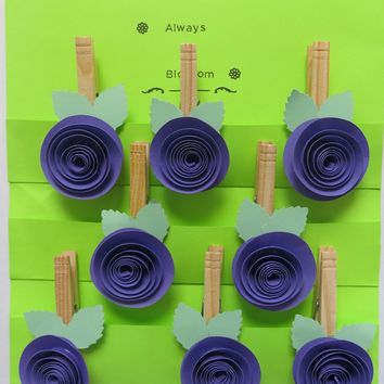 Dark Purple Quilled Rose Magnetic bag clips set of 8 purple paper flower clothespin magnets, wedding favors birthday take away