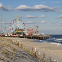 Seaside Park Boardwalk - Funtown Pier Roller Coaster, Ferris Wheel Carnival Rides, beach decor print