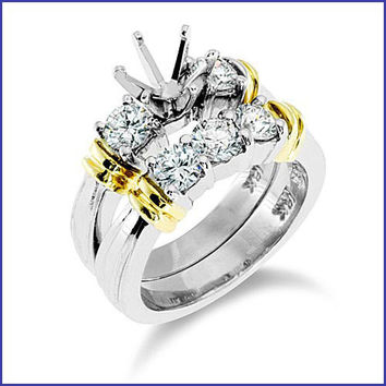 Gregorio 14K White Gold Diamond Engagement Ring and Band  R-174