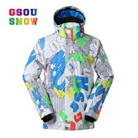 GSOU SNOW Men Skiing Jacket  Breathable Boys Snow Jacket High-Q Skiing And Snowboarding Warm Jacket Male Windproof Waterproof