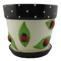 Napco 31396 6-Inch Tall Lady Bug on Leaf Large Ceramic Cache Planter