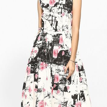 Streetstyle  Casual Round Neck Linen Floral Printed Skater-dress
