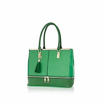 Green contrast zip base tote bag - shopper / tote bags - bags / purses - women