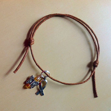 Brown Awareness Sliding Knot Bracelet-Friendship-Colon Cancer-Correctal Cancer-Anti-Tobacco-Familial Polyposis