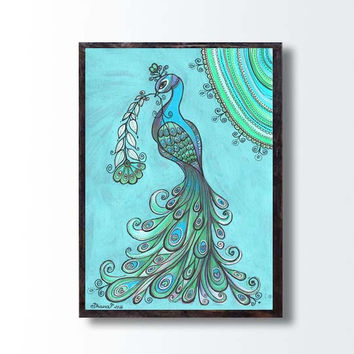 Peacock Poster PRINT, Peacock Drawing Illustration, Peacock Wall Art Large Print, Birthday gift idea Bird Animal art print Nature Ethnic art