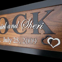 Custom Wedding Gifts Personalized signs Carved Wooden Signs 5th anniversary gift Family Name Signs Last Name Lake house Cottage B1