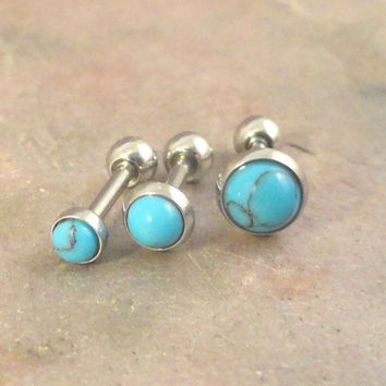 Set of 3 Turquoise Blue Triple Helix Cartilage Earring Internally Threaded Tragus Helix Piercing You Choose Stone Size