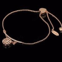 Rose Gold Chinese with Heart Design Cubic Zirconia Charm Chain Bracelet