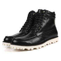 Designer Men's Genuine Leather Lace Up Winter Boots