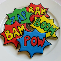 Superhero decorated cookie favors1 dozen by SayitwithHeart on Etsy