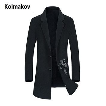 KOLMAKOV 2017 new winter high quality fashion single breasted men's Double - sided fleece coat,black long Classic trench coats.