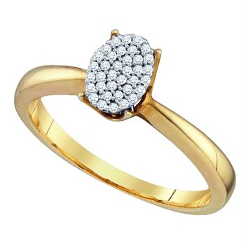 Yellow-tone Sterling Silver Women's Diamond Oval Cluster Bridal Wedding Engagement Ring 1-10 Cttw - FREE Shipping (USA/CAN)