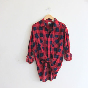 Vintage Plaid Flannel / Grunge Shirt / red & blue washed out button up shirt