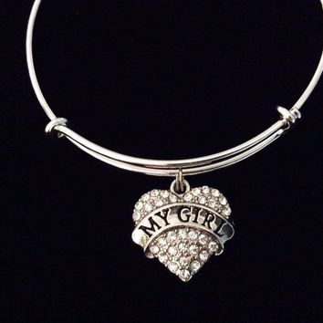 My Girl Crystal Heart Adjustable Bracelet Expandable Charm Silver Wire Bangle Wife Daughter Girlfriend Gift Rhinestone Bling Bracelet