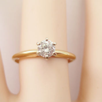Vintage 1/3 Carat Diamond 14K Engagement Ring Size 7 Classic Solitaire