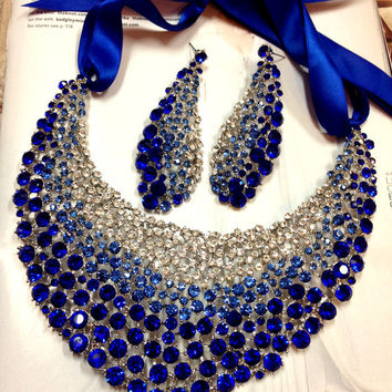 Bridal jewelry set, wedding jewelry, bib necklace earrings, Chunky rhinestone necklace statement, Royal blue crystal jewelry set