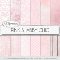 "Shabby chic digital papers ""PINK SHABBY CHIC"" rustic, pink linen, pink plaid, gingham, bokeh, grunge,lace, script paper, hearts, wood, roses"