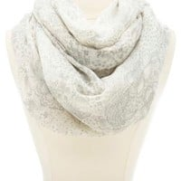 Floral Print Infinity Scarf by Charlotte Russe - Ivory Combo