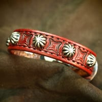 Red Leather bracelet cuff Lean and Sexy Cowboy western style wristband made for YOU in NYC by Freddie Matara!