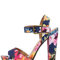 Passion Flower Navy Floral Print Platform Sandals