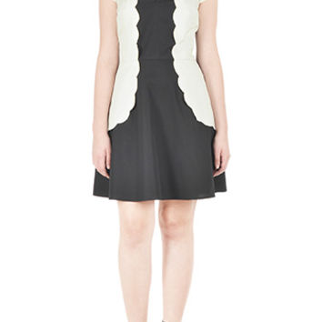 Scallop trim colorblock poplin dress