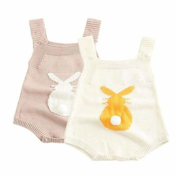 US Newborn Baby Boys Girls Knitted Sleeveless Rompers Jumpsuit Bodysuit Clothes