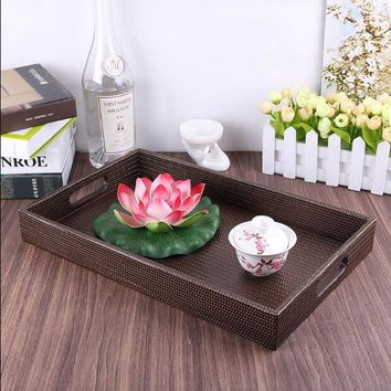 Wooden serving trays with PU leather