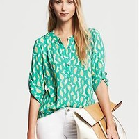 Abstract Print Roll-Sleeve Blouse