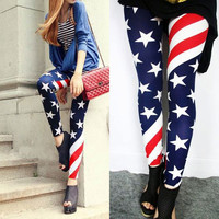 Sexy Nice Stretch US American Flag Tights Leggings