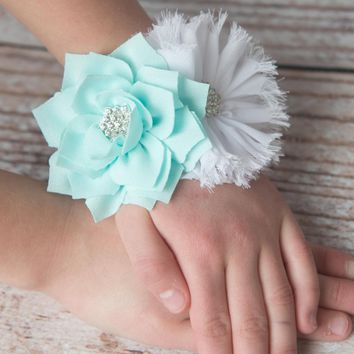 aqua corsage - white wedding corsage |wedding party corsages, mom to be corsage